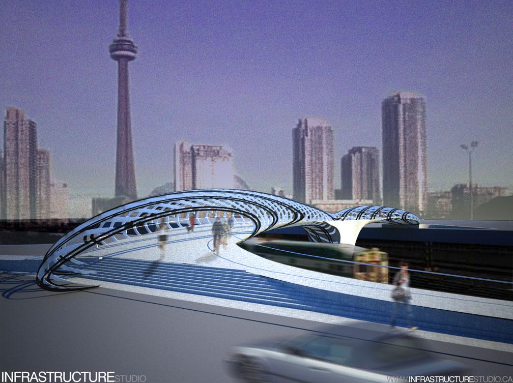 Pedestrian bridge design competition vote spacing toronto for Bridge design